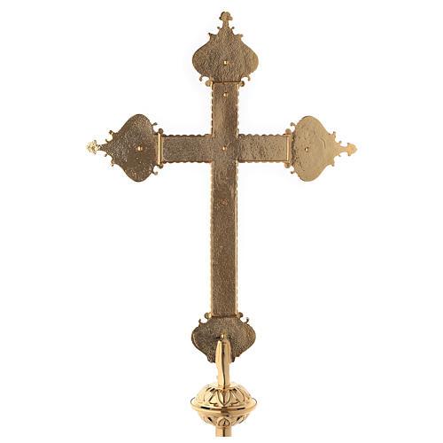 Croce astile 4 Evangelisti ottone bicolore 62x40 cm 11