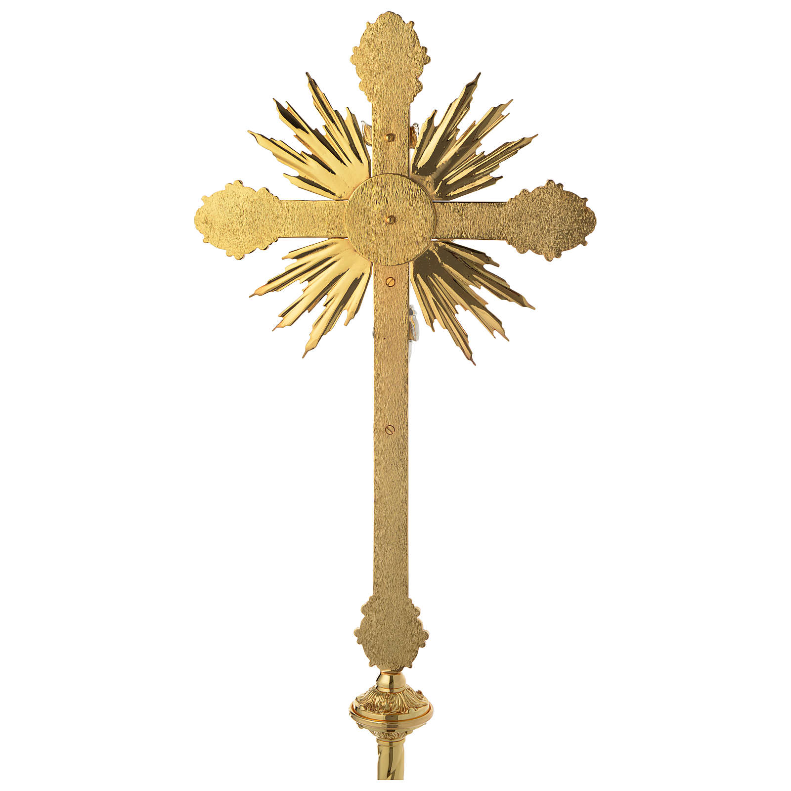 Croce astile barocca ottone bicolore 63x35 cm 4