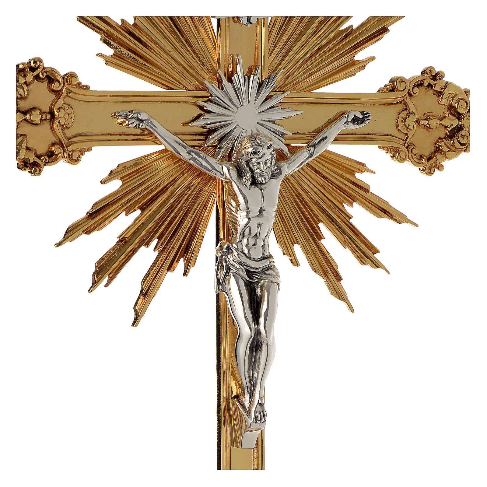 Krzyż procesyjny barokowy mosiądz dwukolorowy 63x35 cm 4