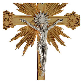 Krzyż procesyjny barokowy mosiądz dwukolorowy 63x35 cm s4