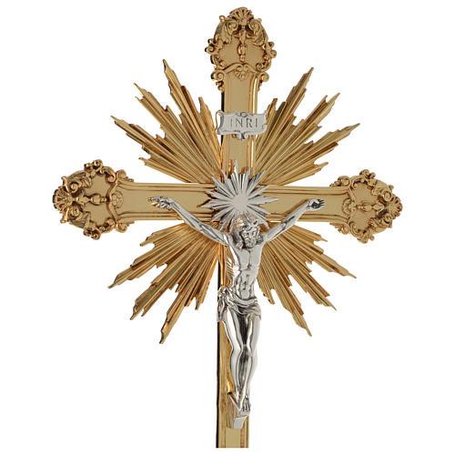 Krzyż procesyjny barokowy mosiądz dwukolorowy 63x35 cm 2