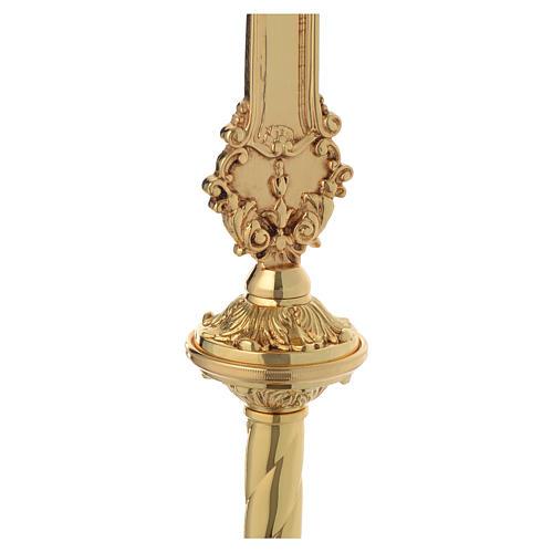 Krzyż procesyjny barokowy mosiądz dwukolorowy 63x35 cm 5