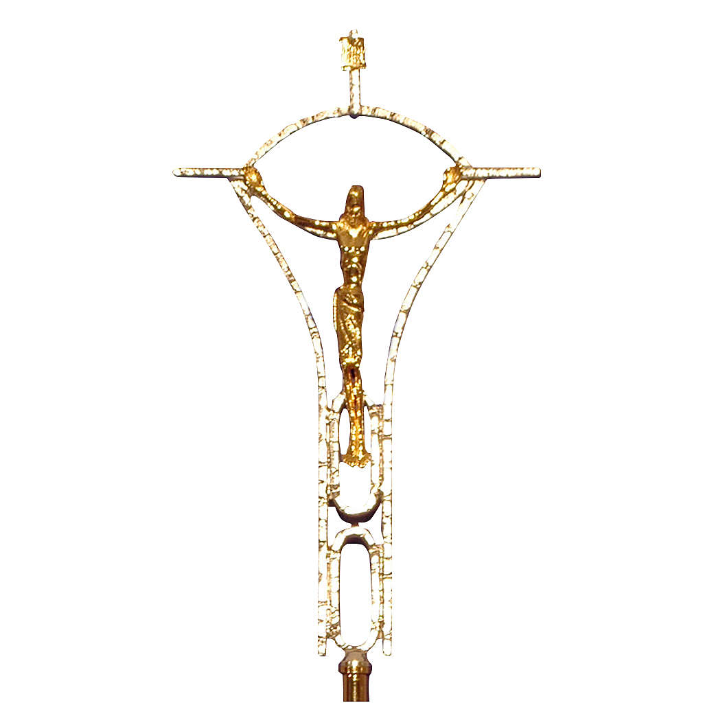 Processional Cross In Two-tone Cast Brass 50x30cm