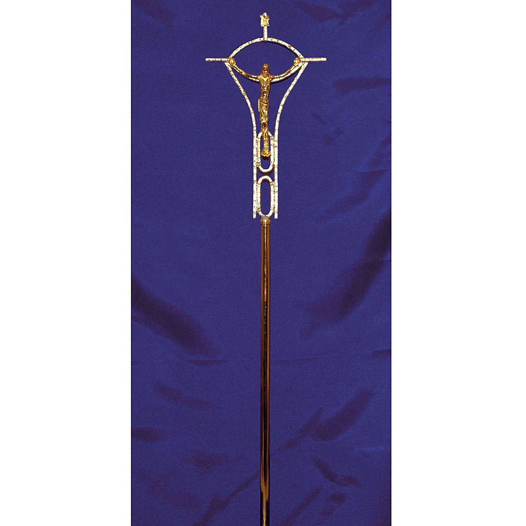 Croce astile ottone fuso bicolore 50x30 cm 4