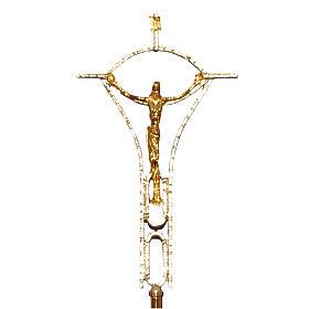 Croce astile ottone fuso bicolore 50x30 cm s1