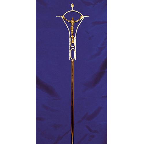 Croce astile ottone fuso bicolore 50x30 cm 2