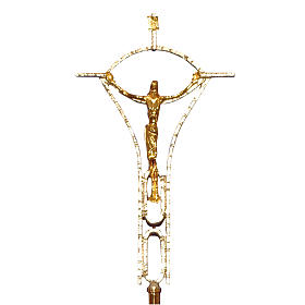 Krzyż procesyjny odlew z mosiądzu dwukolorowy 50x30 cm s1