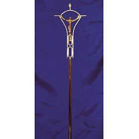 Krzyż procesyjny odlew z mosiądzu dwukolorowy 50x30 cm s2