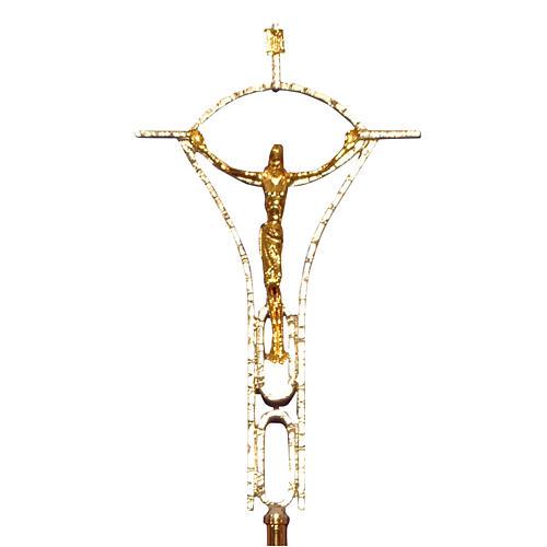 Krzyż procesyjny odlew z mosiądzu dwukolorowy 50x30 cm 1