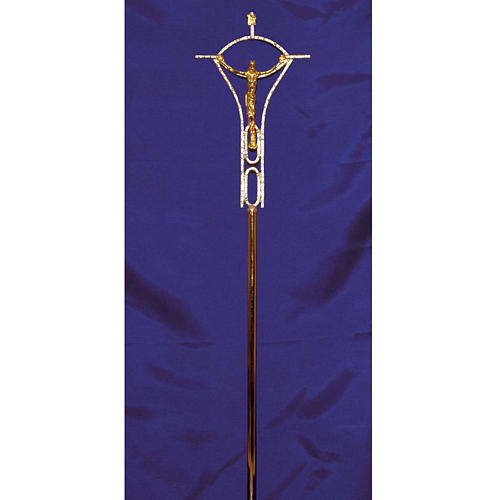 Krzyż procesyjny odlew z mosiądzu dwukolorowy 50x30 cm 2