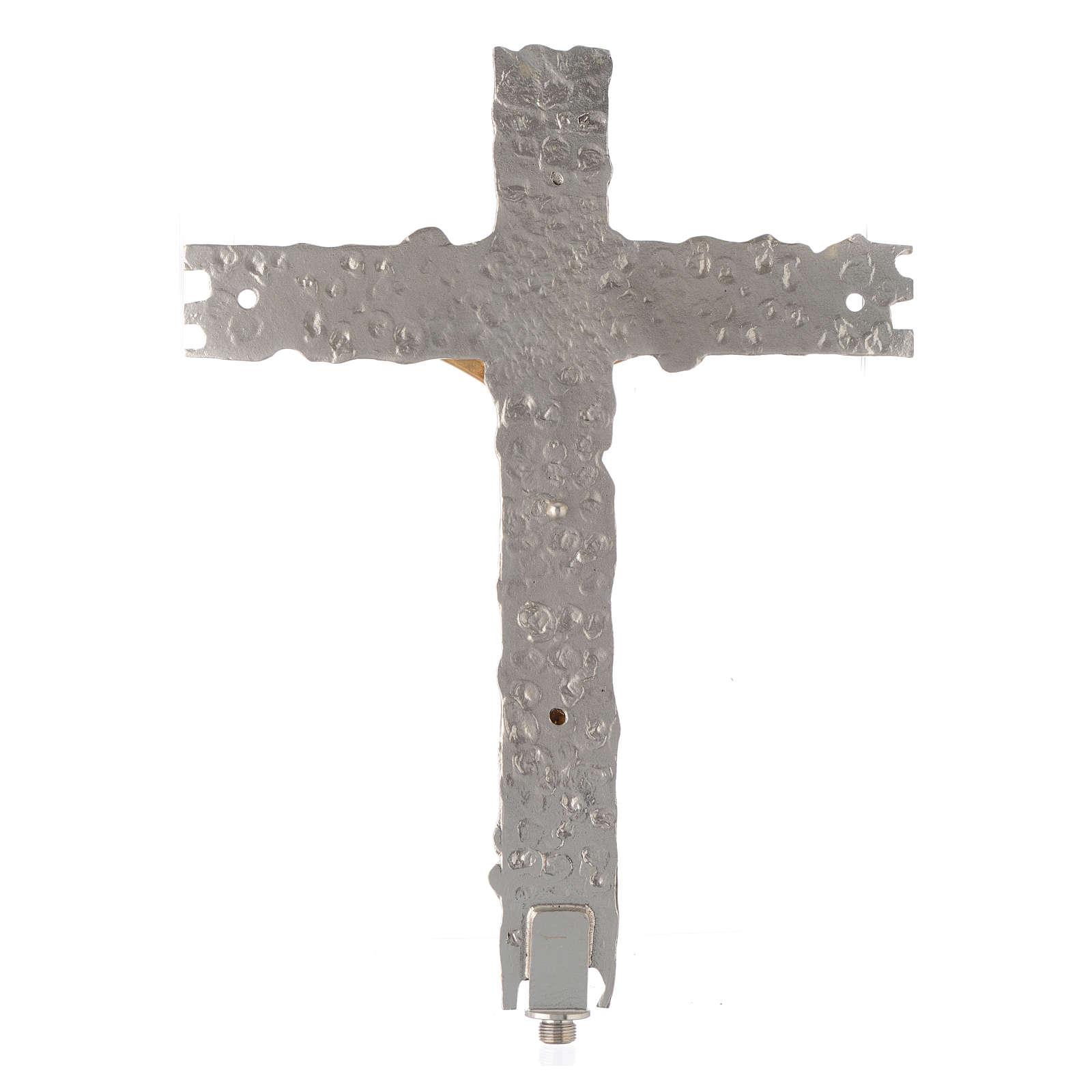 Croix procession laiton argenté 41x31 cm 4