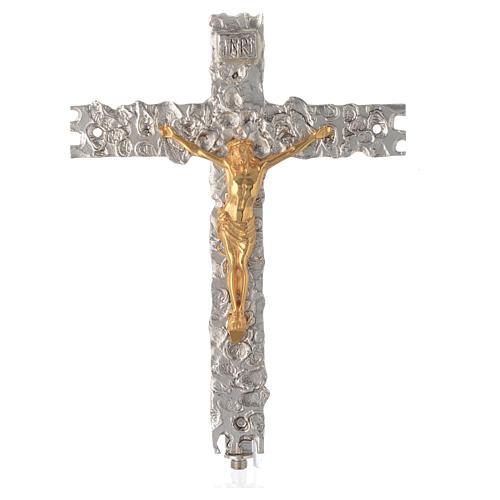 Croix procession laiton argenté 41x31 cm 1
