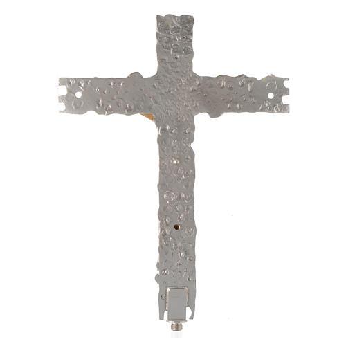 Croix procession laiton argenté 41x31 cm 3