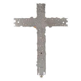 Croce astile ottone argentato 41x31 cm s3