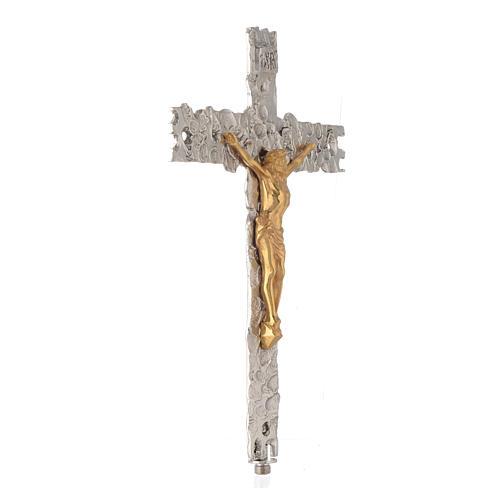Krzyż procesyjny posrebrzany mosiądz 41x31 cm 2