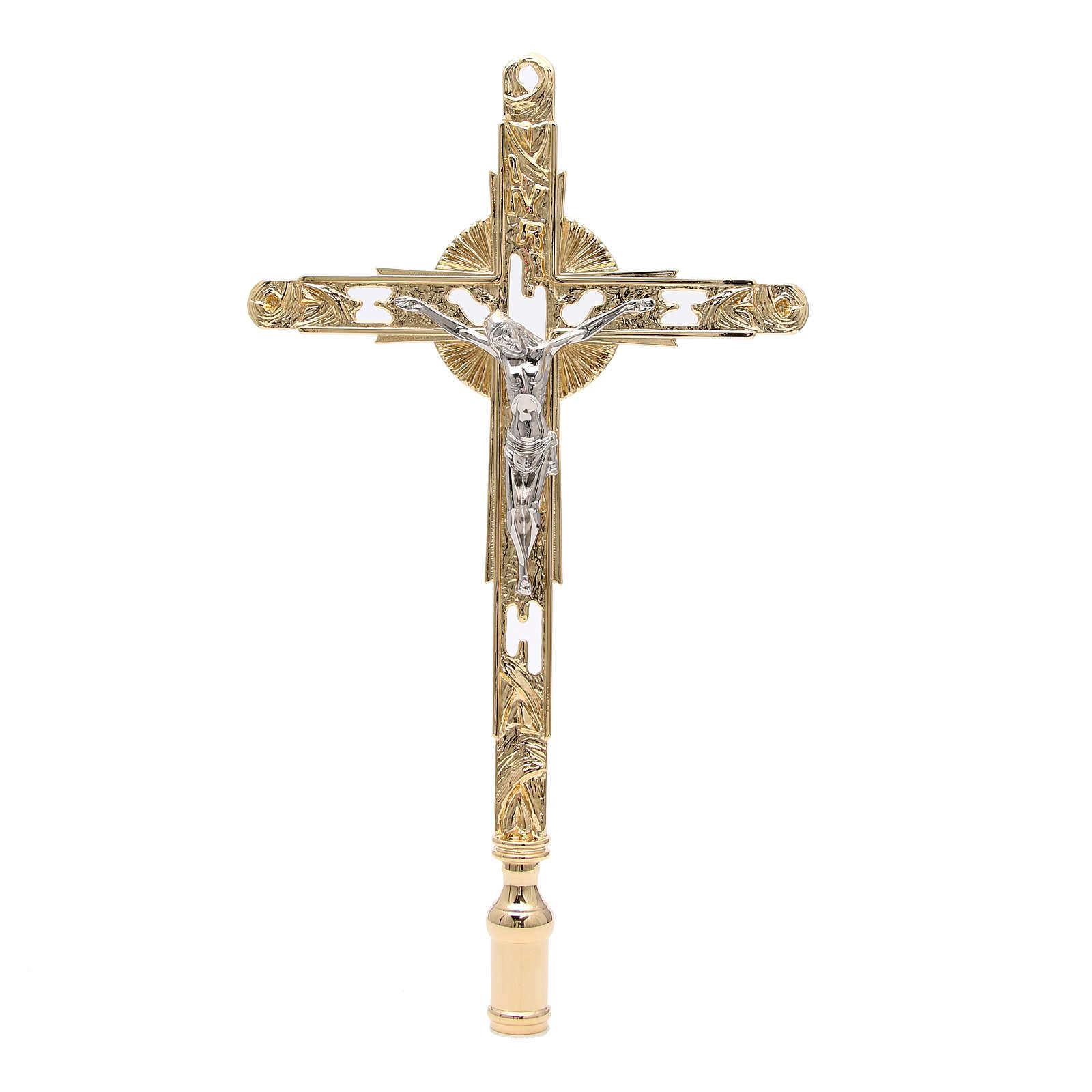 Croix procession à visser laiton doré 4