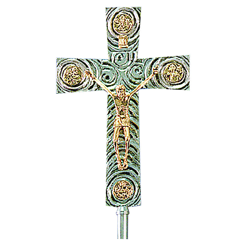Croce astile in ottone con evangelisti 46x30 cm 4