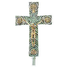 Croce astile in ottone con evangelisti 46x30 cm s1
