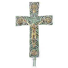 Krzyż procesyjny z mosiądzu z Ewangelistami 46x30 cm s1