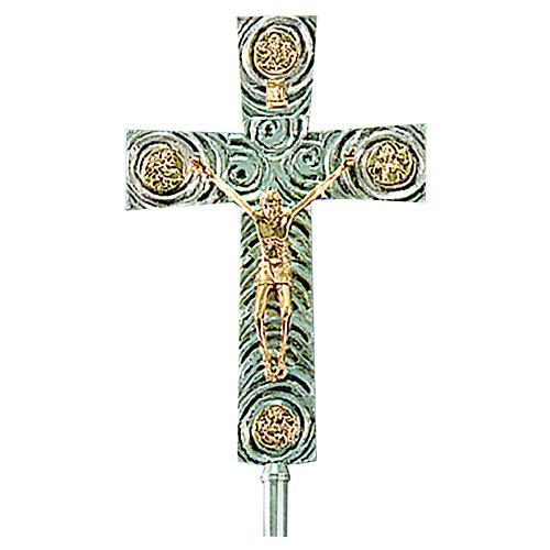 Krzyż procesyjny z mosiądzu z Ewangelistami 46x30 cm 1