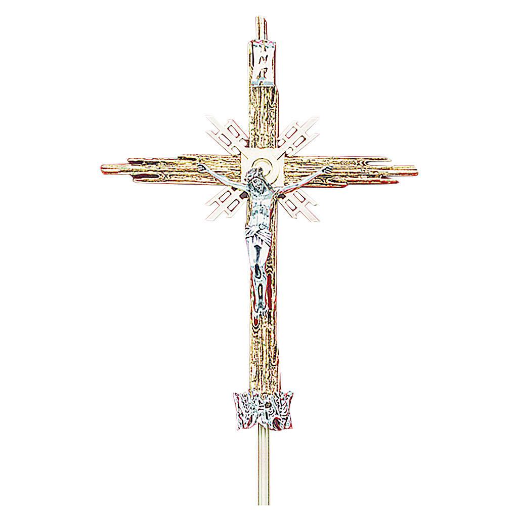 Croce astile ottone fuso oro argento 68x49 cm 4