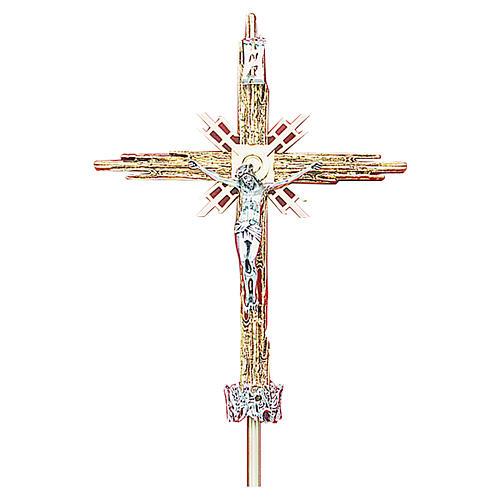 Croce astile ottone fuso oro argento 68x49 cm 2