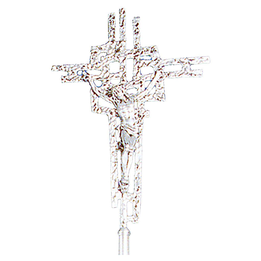 Croce astile in ottone fuso 51x35 cm 4