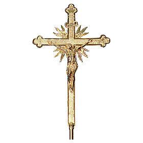 Croce astile 70x42 cm ottone fuso barocco ricco s2