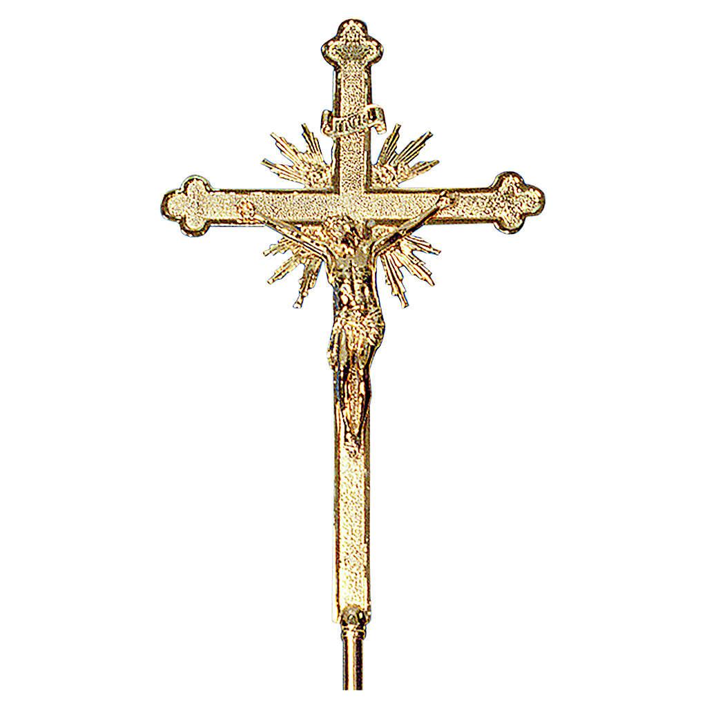 Krzyż procesyjny 70x42 cm odlew mosiądzu barokowy bogato zdobiony 4
