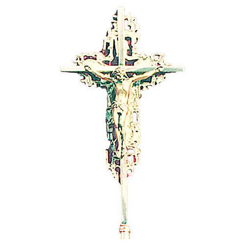 Krzyż procesyjny 70x42 cm odlew mosiądzu barokowy bogato zdobiony 1