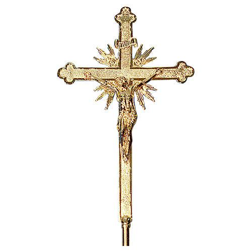 Krzyż procesyjny 70x42 cm odlew mosiądzu barokowy bogato zdobiony 2