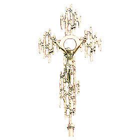Croce astile in ottone fuso oro 24K 52x26 cm s1