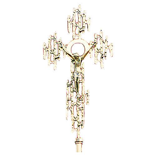 Croce astile in ottone fuso oro 24K 52x26 cm 1
