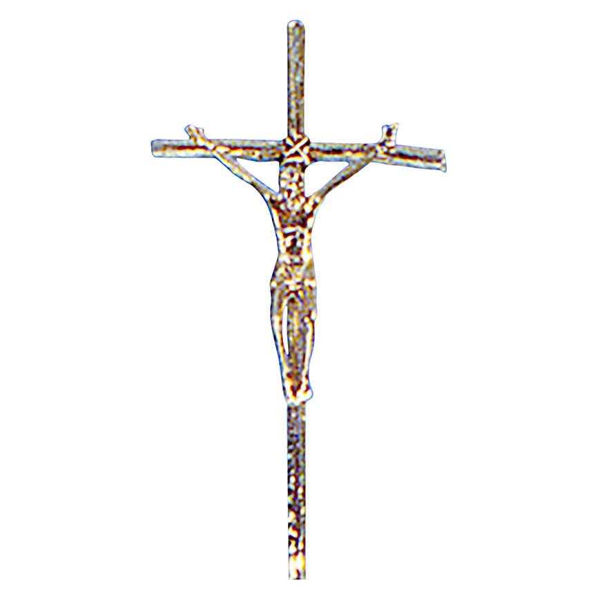 Croce astile ottone fuso oro 48x24 cm 4