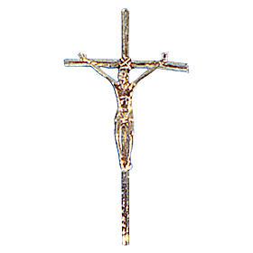 Krzyż procesyjny odlew mosiądzu złoto 48x24 cm s1