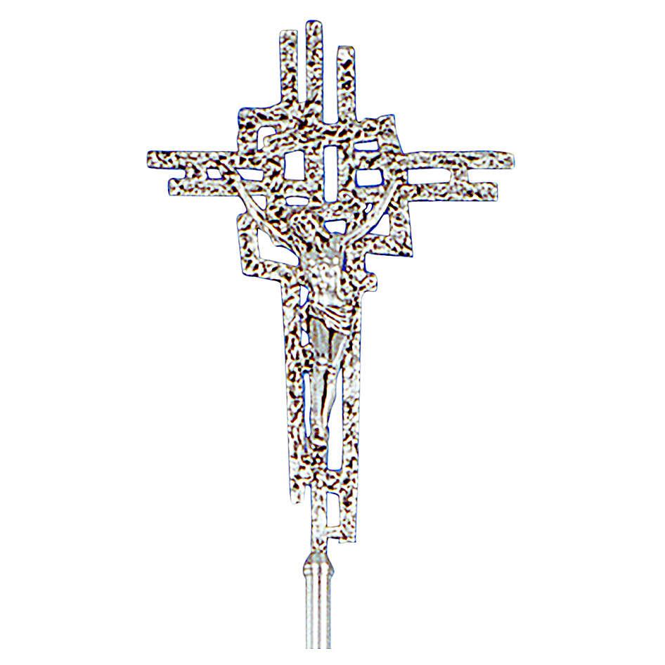 Croce astile ottone fuso argento 51x35 cm 4