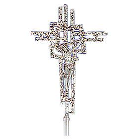 Croce astile ottone fuso argento 51x35 cm s1