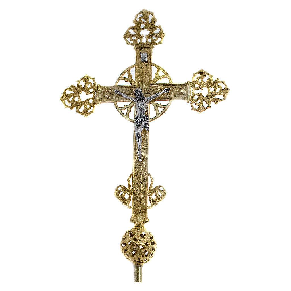Krzyż procesyjny z pozłacanego odlewu mosiądzu 61x50 cm 4