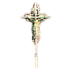Croce astile 40x26 cm ottone fuso dorato s1