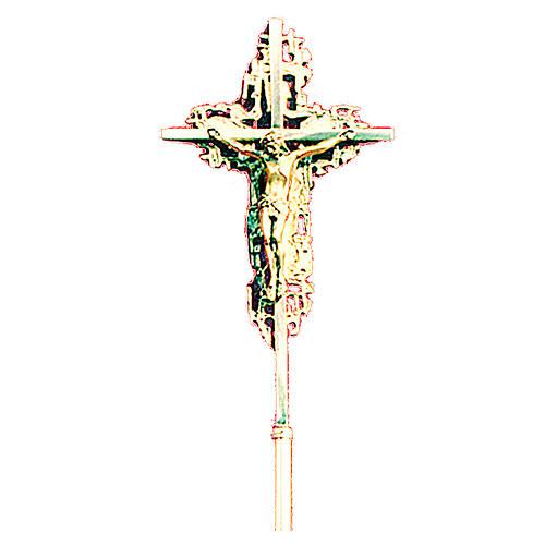 Croce astile 40x26 cm ottone fuso dorato 1