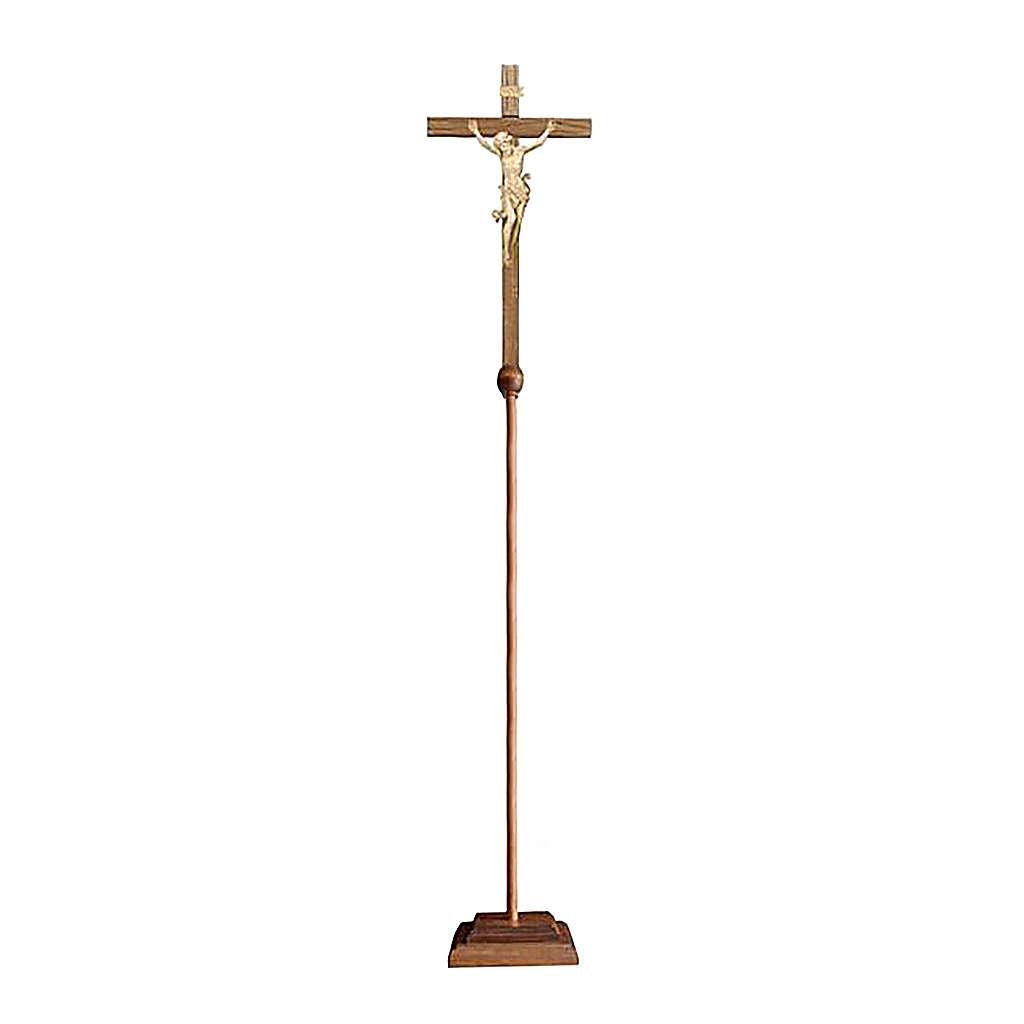 Croce astile Leonardo processionale legno naturale 4