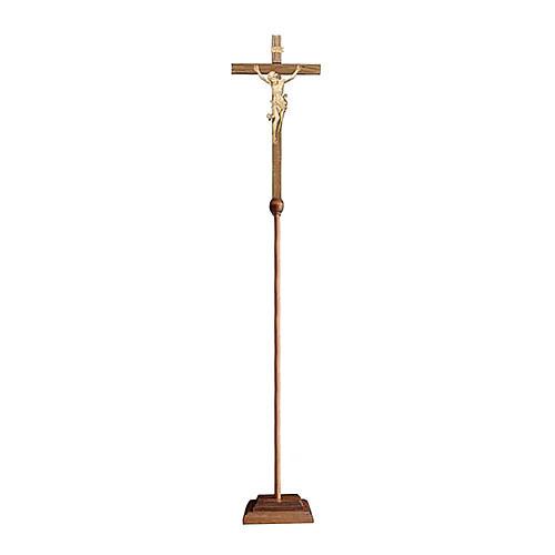Croce astile Leonardo processionale legno naturale 1