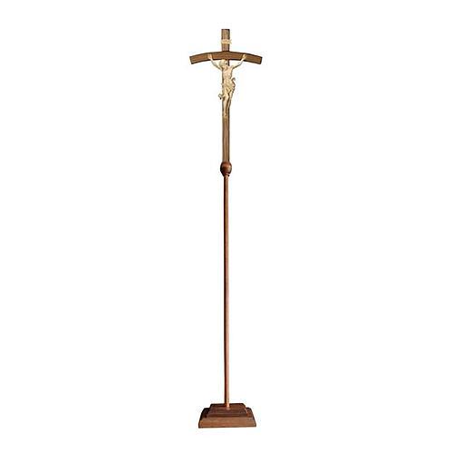Croce astile Leonardo legno naturale croce curva 1