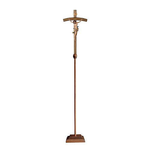 Croce astile con base Leonardo colorata croce curva 1