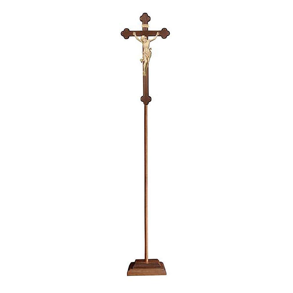 Croce Leonardo astile con base legno naturale croce barocca brunita 4