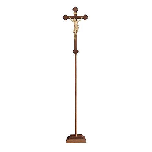 Croce Leonardo astile con base legno naturale croce barocca brunita 1