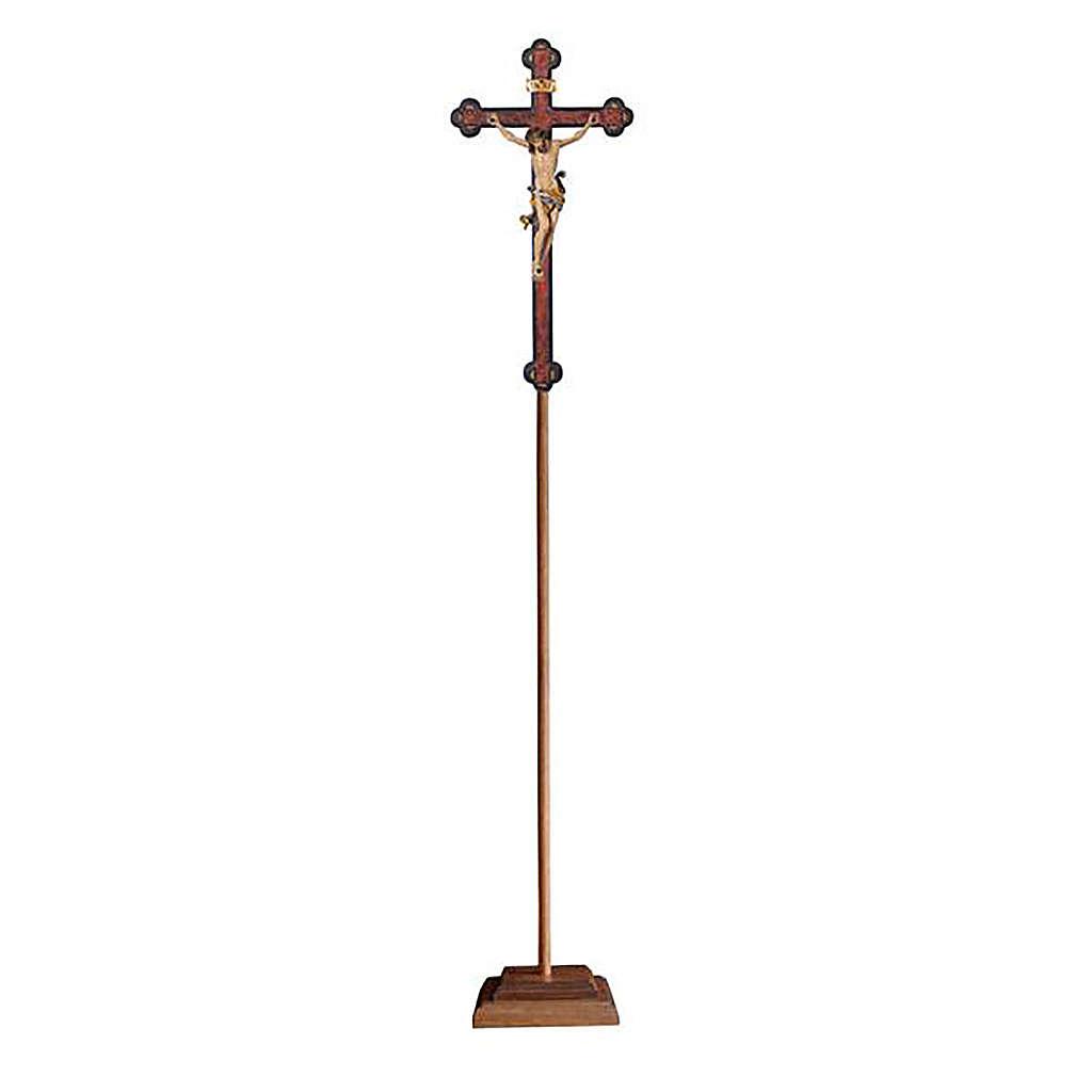 Croce astile con base Leonardo colorata croce barocca antica  4
