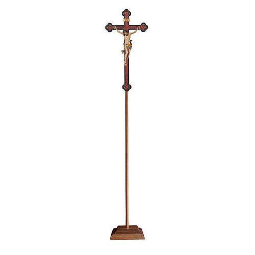 Croce astile con base Leonardo colorata croce barocca antica  1