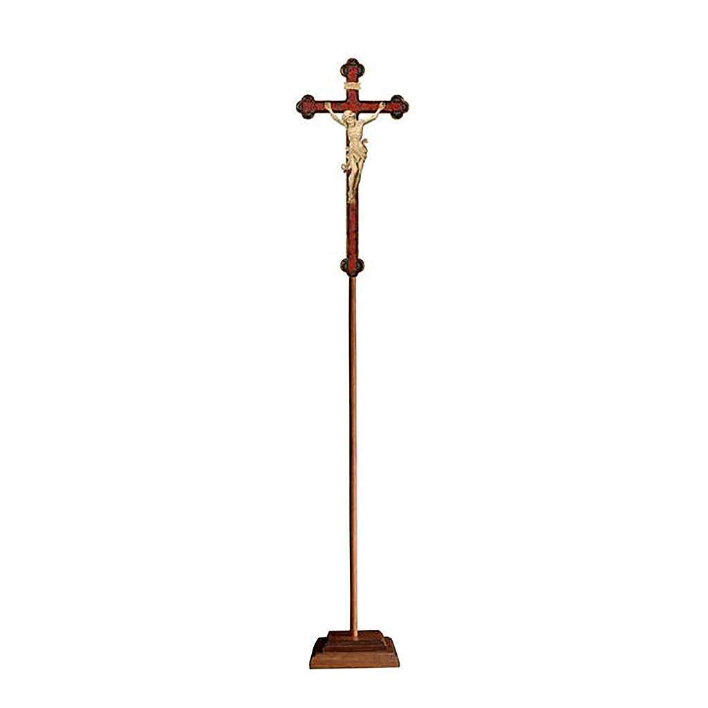 Croce Leonardo astile con base legno naturale croce barocca oro  4