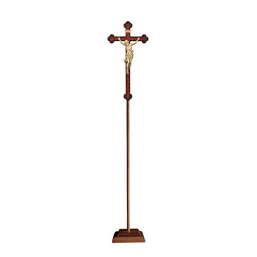Croce Leonardo astile con base legno naturale croce barocca oro  1